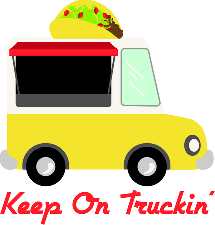 hispanics: Here comes lunch!  This cute little truck with a taco on top is a perfect embellishment for any catering or food themed project!