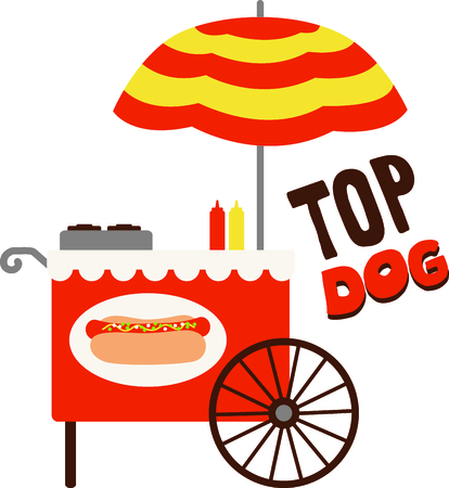 The hot dog cart in the park cant help but stir up fond memories.  Our super sweet cart is a great way to decorate a picnic cooler or even a table cloth for your outdoor table!