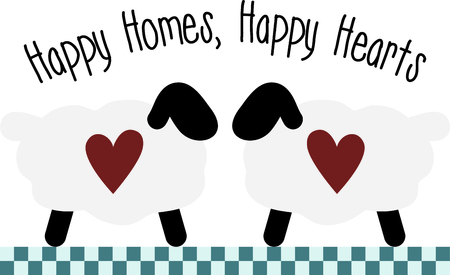 ruminant: Country style sheep couple facing each other. Use for your love of home and country decorating.