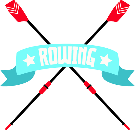 Embellish your favorite rowing team's shirts with this classy banner over crossed oars.  イラスト・ベクター素材