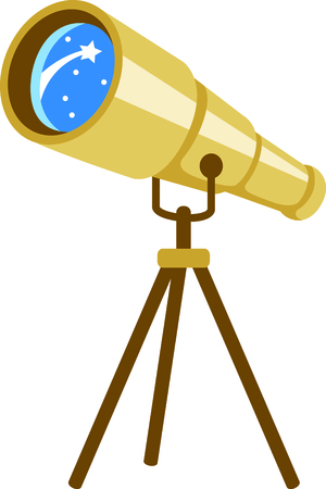 astronomer: Set sights on the stars!  Stitch this telescope to decorate clothing or decor for your favorite astronomer. Illustration