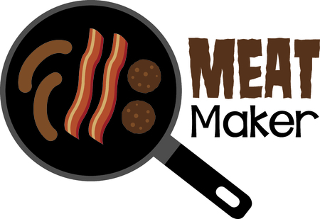 Yummy breakfast treats in a skillet.  Bacon, sausage and links come together to make a eye catching kitchen towel embroidery. Ilustração