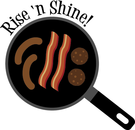 eye catching: Yummy breakfast treats in a skillet.  Bacon, sausage and links come together to make a eye catching kitchen towel embroidery. Illustration