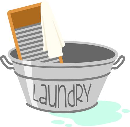 金属ランドリー盆地と手の洗濯板。家事を家に飾ることのデザインします。