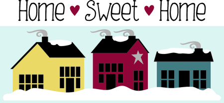 homes: Snowy winter country homes with smoking cozy chimneys. Illustration