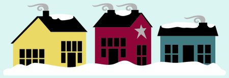 homestead: Snowy winter country homes with smoking cozy chimneys. Illustration