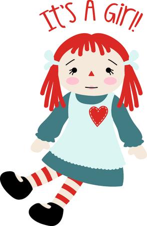 彼女のエプロン ドレスに心とラガディ アンの赤ちゃん人形。