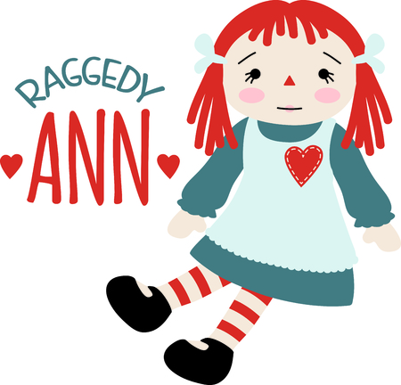 pinafore: Raggedy Ann baby doll with a heart on her pinafore dress.