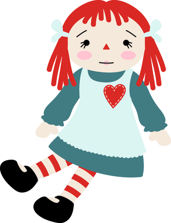 poppet: Raggedy Ann baby doll with a heart on her pinafore dress.