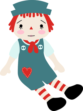 raggedy: Raggedy Andy baby doll with a heart on his jumper suit.