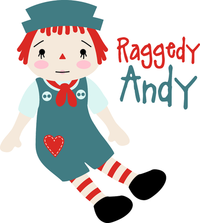 Raggedy Andy baby doll with a heart on his jumper suit.