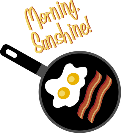 The perfect breakfast in a skillet adds a fun element to your kitchen embroidery projects.  You can even use it on your window valences! Ilustração
