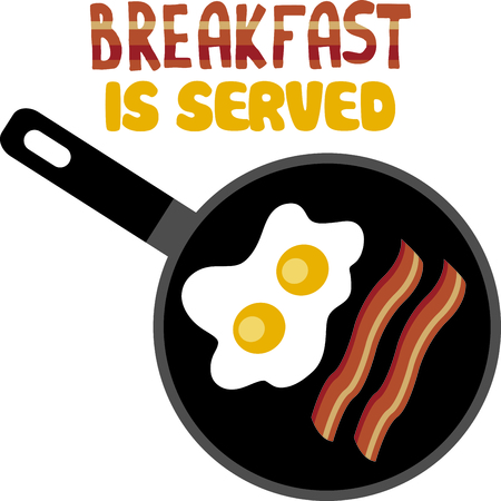 skillet: The perfect breakfast in a skillet adds a fun element to your kitchen embroidery projects.  You can even use it on your window valences! Illustration