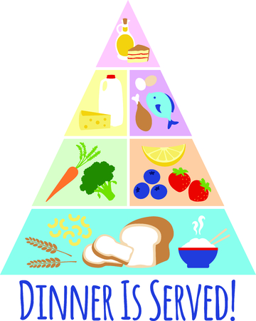 Our colorful food pyramid creates a visual reminder to serve and eat foods from each of these groups every day for good health.