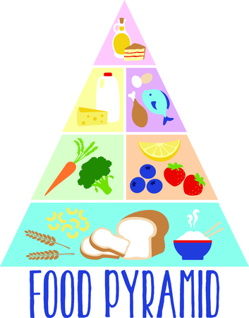pyramide alimentaire: Notre pyramide alimentaire color� cr�e un rappel visuel de servir et de manger des aliments de chacun de ces groupes chaque jour pour une bonne sant�. Illustration