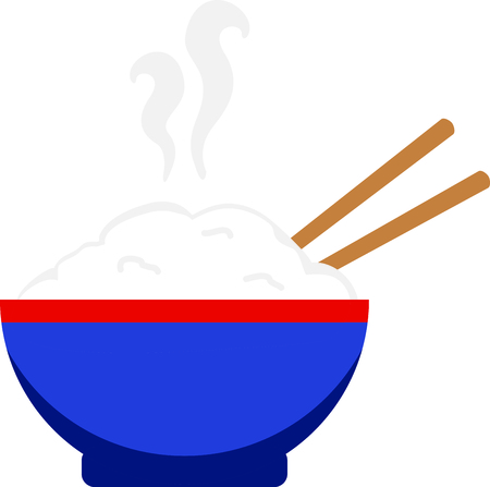 Dit uitnodigende kom rijst wordt geserveerd in een klassieke blauwe kom en eetstokjes. Wat een leuke decoratie voor uw voedsel gerelateerde projecten.