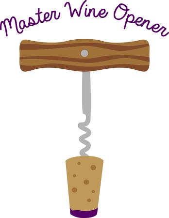 vino: Corkscrew wine bottle opener for a bar. Illustration