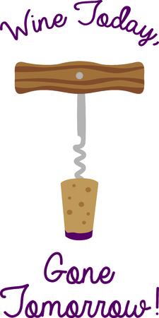 Corkscrew wine bottle opener for a bar. Ilustração