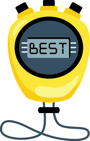 chronograph: Yellow stop watch set to zero..