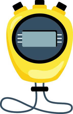 stop watch: Yellow stop watch set to zero..