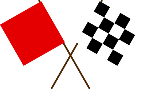 Red and checkered racing flags.