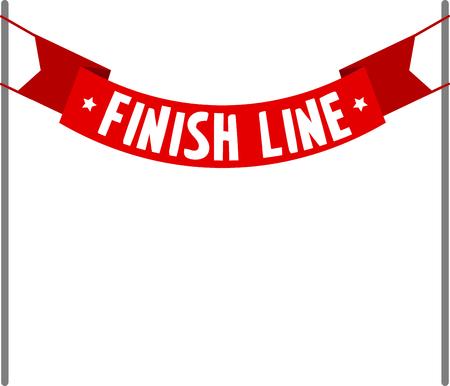 Blanco bijschrift rode finish banner.