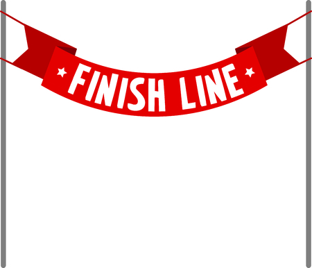 caption: Blank caption red finish line banner. Illustration