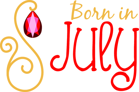birthstone: Celebrate your July birthday with your birthstone, the ruby. Illustration