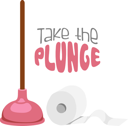 latrine: Toilet paper roll and plunger for bathroom decor. Illustration