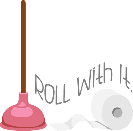 paper roll: Toilet paper roll and plunger for bathroom decor. Illustration