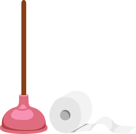 Toilet paper roll and plunger for bathroom decor. Ilustração