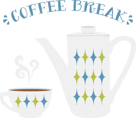 This coffee pot will look wonderful on a kitchen towel or apron.
