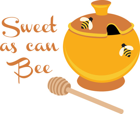 A honey pot will look wonderful on a kitchen towel.