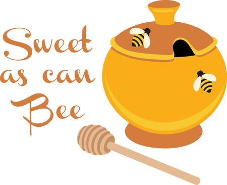 pot miel: Un pot de miel se penchera merveilleux sur une serviette de cuisine.