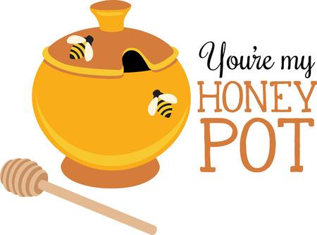 honey pot: A honey pot will look wonderful on a kitchen towel.