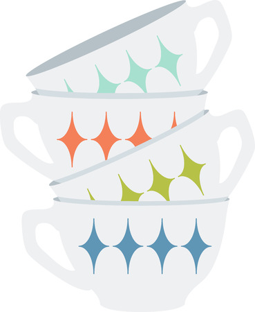 This coffee cups will look wonderful on a kitchen towel or apron.