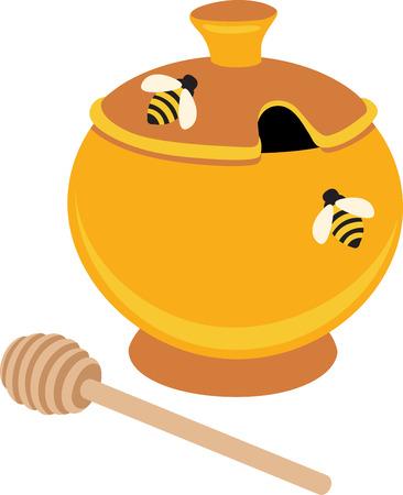 bumble: A honey pot will look wonderful on a kitchen towel.