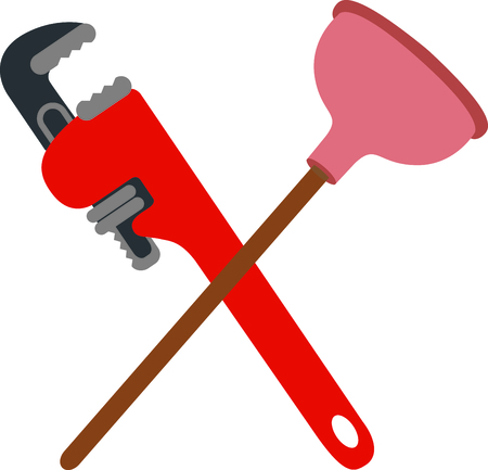 Crossed pipe wrench and plunger with funny saying for the plumber or handyman.