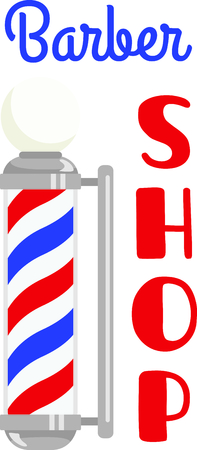 universally: The barber pole is a universally recognized symbol of mens grooming.  This is a lovey adornment for the towels on his side of the bathroom. Illustration