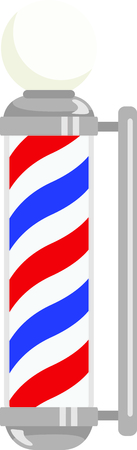recognized: The barber pole is a universally recognized symbol of mens grooming.  This is a lovey adornment for the towels on his side of the bathroom. Illustration