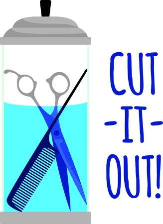 desinfectante: Las herramientas de peluquer�a o barber�a de guardado en un frasco de desinfectante siempre est�n en exhibici�n en el sal�n. Este dise�o ser�a justo la cosa perfecta para un delantal cliente.