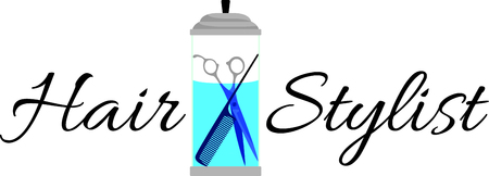 desinfectante: Las herramientas de peluquería o barbería de guardado en un frasco de desinfectante siempre están en exhibición en el salón. Este diseño sería justo la cosa perfecta para un delantal cliente.