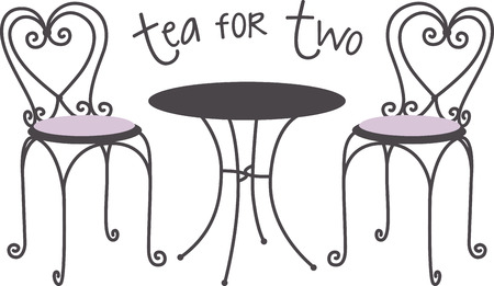 Make a lovely tea time project with a caf table scene. Иллюстрация