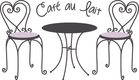 caf: Make a lovely tea time project with a caf table scene. Illustration