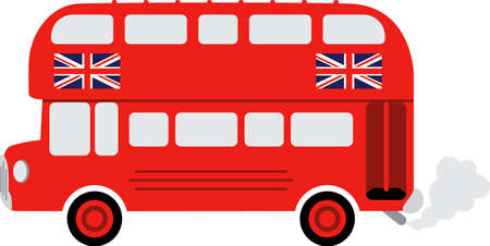 english bus: Un bus anglais fera un grand projet pour un voyageur. Illustration