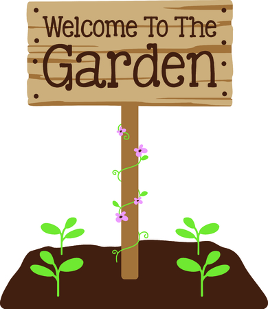 floret: Use this image of a garden sign in your next design.
