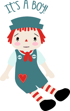 Raggedy Andy baby doll with a heart on his jumper suit. This little brother design would be great for parents and siblings. Illustration