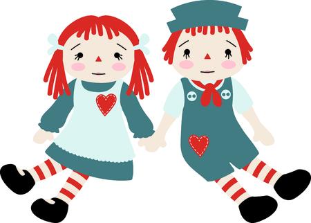 ラガディ ・ アンと Andy エプロン、ジャンパーの心を持つ人形を赤ちゃん。
