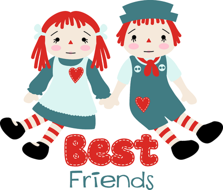 raggedy: Raggedy Ann and Andy baby dolls with hearts on their pinafore and jumper.