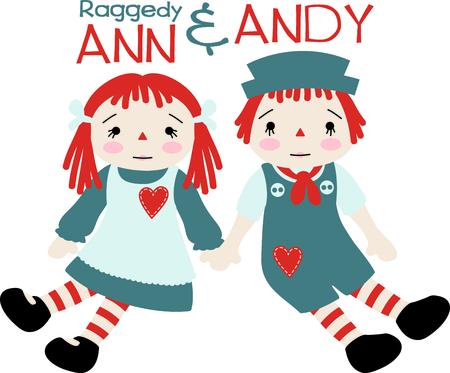 Raggedy Ann en Andy babypoppen met hartjes op hun schort en jumper.